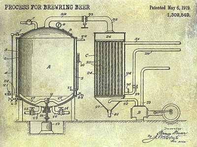 Stein Photograph - 1893 Beer Manufacturing Patent  by Jon Neidert