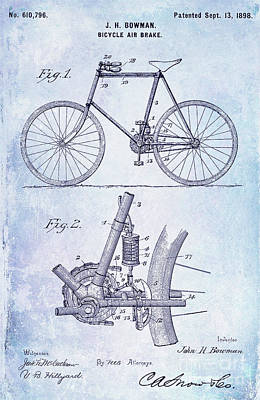 Dale Digital Art - 1893 Bicycle Patent Blueprint by Jon Neidert