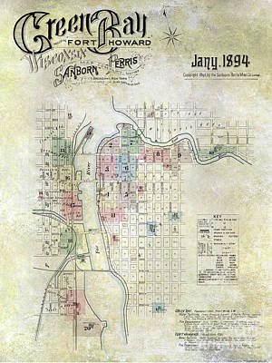 Wisconsin Map Photograph - 1894 Green Bay Wisconsin Map by Jon Neidert