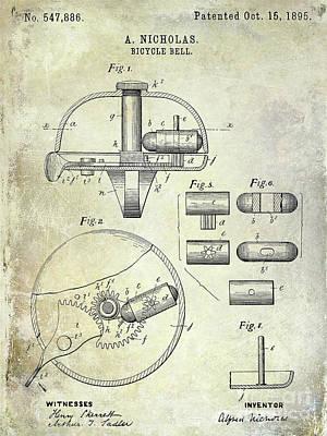 Schwinn Wall Art - Digital Art - 1895 Bicycle Bell Patent by Jon Neidert