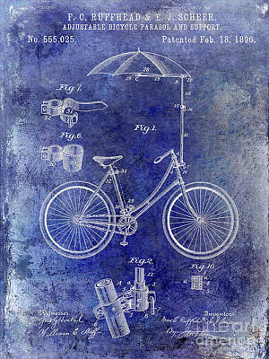 Dale Digital Art - 1896 Bicycle Patent by Jon Neidert