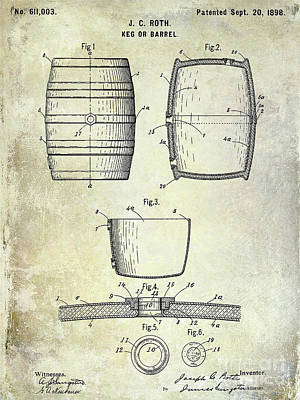 1898 Photograph - 1898 Beer Keg Patent by Jon Neidert
