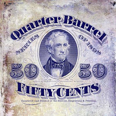 1898 Photograph - 1898 Quarter Beer Barrel Tax Stamp by Jon Neidert