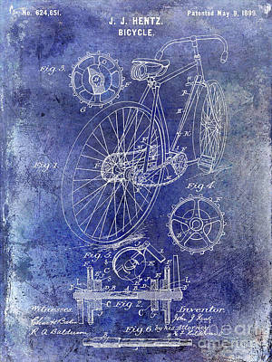 Dale Digital Art - 1899 Bicycle Patent by Jon Neidert