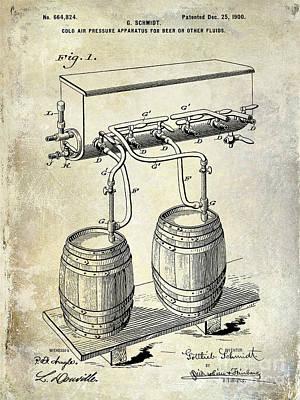 Stein Photograph - 1900 Beer Keg System Patent by Jon Neidert