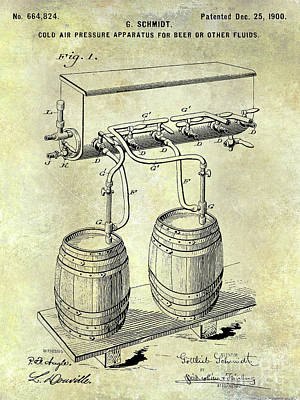 Stein Photograph - 1900 Draft Beer Patent  by Jon Neidert