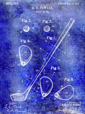 1910 Golf Club Patent Blue Art Print
