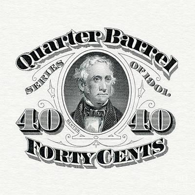 1901 Photograph - 1901 Quarter Beer Barrel Tax Stamp by Jon Neidert