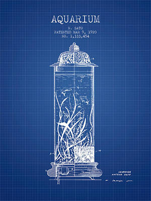 Reptiles Royalty-Free and Rights-Managed Images - 1902 Aquarium Patent - Blueprint by Aged Pixel