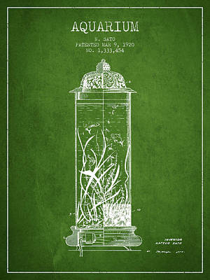 Reptiles Royalty-Free and Rights-Managed Images - 1902 Aquarium Patent - Green by Aged Pixel
