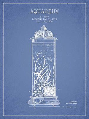1902 Aquarium Patent - Light Blue Art Print by Aged Pixel