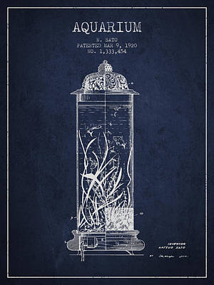 Reptiles Royalty-Free and Rights-Managed Images - 1902 Aquarium Patent - Navy Blue by Aged Pixel