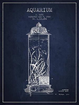 1902 Aquarium Patent - Navy Blue Art Print by Aged Pixel