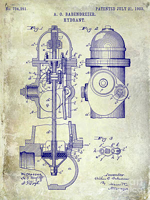 Fire Trucks Photograph - 1903 Fire Hydrant Patent by Jon Neidert