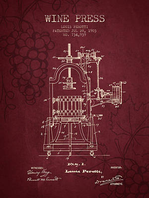 1903 Wine Press Patent - Red Wine Art Print by Aged Pixel