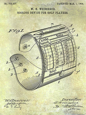 1904 Golf Scoring Device Blueprint Art Print