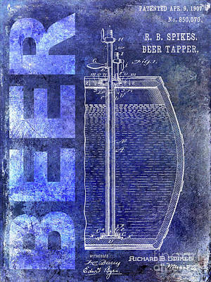 Americana Micro Art Photograph - 1907 Beer Tapper Patent Blue by Jon Neidert