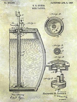 Stein Photograph - 1907 Beer Tapper Patent by Jon Neidert