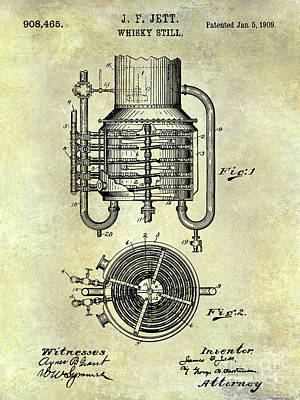 1909 Whiskey Still Patent  Art Print by Jon Neidert