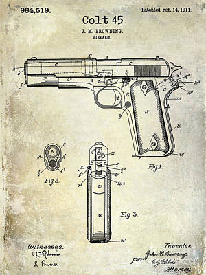 1911 Photograph - 1911 Colt 45 Firearm Patent by Jon Neidert