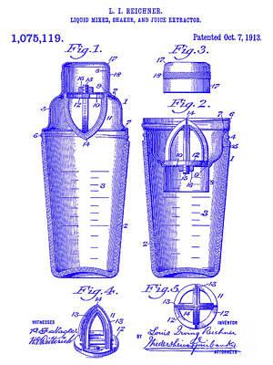 Martini Shaker Photograph - 1913 Cocktail Shaker Patent Blueprint by Jon Neidert