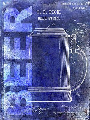 Modern Micro Art Photograph - 1914 Beer Stein Patent Blue by Jon Neidert