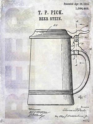 1914 Beer Stein Patent Art Print by Jon Neidert