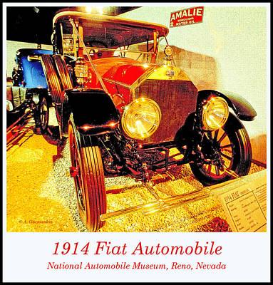 Classic Fiat Digital Art - 1914 Fiat Classic Automobile by A Gurmankin