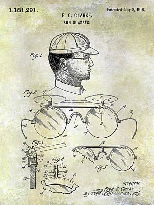 Antique Baseball Bat Photograph - 1916 Sunglasses Patent by Jon Neidert