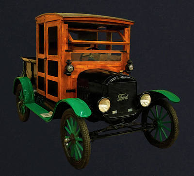Model T Ford Painting - 1917 Ford Model T Truck Digital Oil by Chris Flees