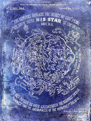 Moon And Stars Photograph - 1919 Astrology Patent Blue by Jon Neidert