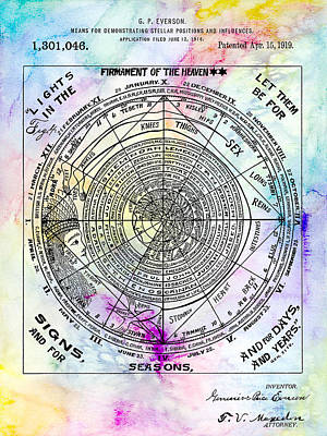 Moon And Stars Photograph - 1919 Astrology Patent Colorful by Jon Neidert