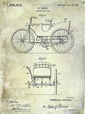 Dale Digital Art - 1919 Bicycle Patent by Jon Neidert