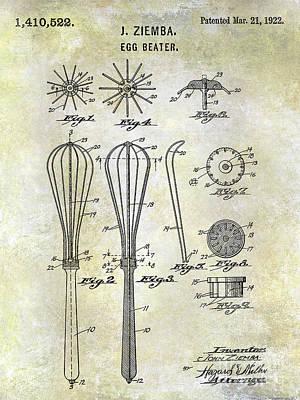 Beaters Photograph - 1922 Egg Beater Patent  by Jon Neidert