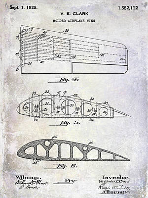 Blue Airplane Photograph - 1925 Airplane Wing Patent by Jon Neidert