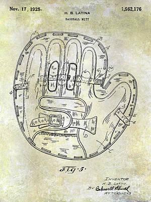 Ny Yankees Photograph - 1925 Baseball Glove Patent by Jon Neidert