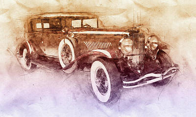 Transportation Mixed Media - 1928 Duesenberg Model J 2 - Automotive Art - Car Posters by Studio Grafiikka