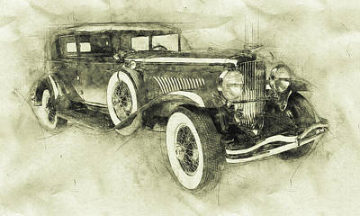 Transportation Mixed Media - 1928 Duesenberg Model J 3 - Automotive Art - Car Posters by Studio Grafiikka
