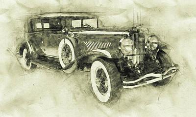 Mixed Media Royalty Free Images - 1928 Duesenberg Model J 3 - Automotive Art - Car Posters Royalty-Free Image by Studio Grafiikka
