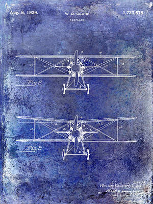 Blue Airplane Photograph - 1929 Airplane Patent Blue by Jon Neidert