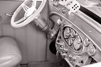 Photograph - 1929 Chevrolet Classic Car Automobile Dashboard Sepia 3130.01 by M K  Miller
