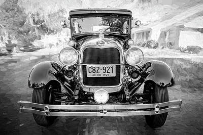 1929 Ford Model A Tudor Police Sedan Bw Art Print by Rich Franco