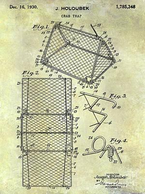 Crab Traps Photograph - 1930 Crab Trap Patent by Jon Neidert