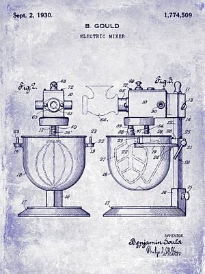 Beaters Photograph - 1930 Electric Mixer Patent Blueprint by Jon Neidert