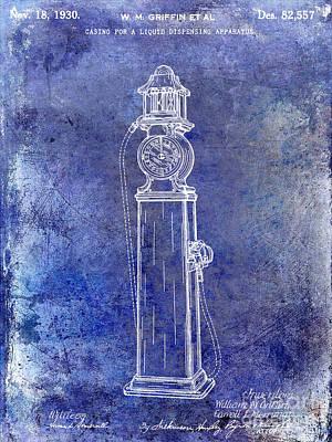 Filling Station Photograph - 1930 Gas Pump Patent Blue by Jon Neidert