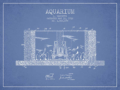 Turtle Drawing - 1932 Aquarium Patent - Vintage by Aged Pixel