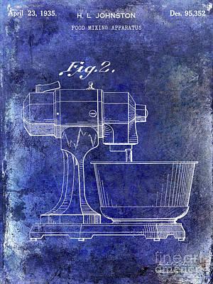 Beaters Photograph - 1935 Food Mixing Apparatus Patent Blue by Jon Neidert