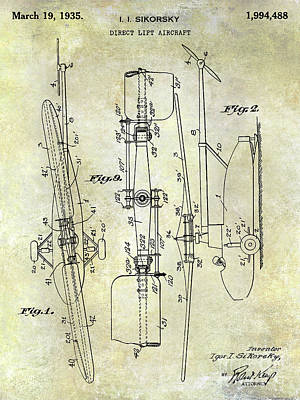 Helicopter Photograph - 1935 Helicopter Patent  by Jon Neidert