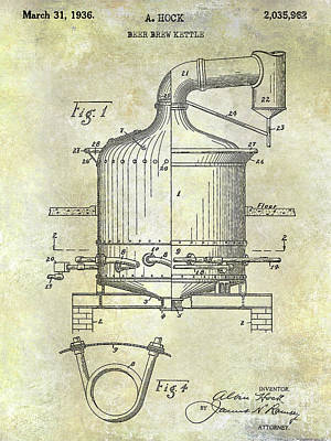 Stein Photograph - 1936 Beer Brew Kettle Patent by Jon Neidert
