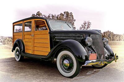 Old Woody Station Wagon Wall Art - Photograph - 1936 Ford Woody by Marcia Colelli